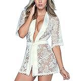 Gusspower Mujer Sexy Lencería Kimono Larga Encaje Tul Cordón Batas Camisón Dormir Transparente Malla