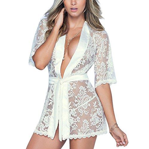 Gusspower Mujer Sexy Lencería Kimono Larga Encaje