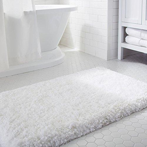 Lifewit Badeteppich Weiche Mikrofaser Badematte Badevorlege Rutschfest Antibakteriell Gummi Teppich 50x80cm Weiß