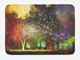 Fantasy Bath Mat, Fairy Forest with Mysterious Trees and Birds Supernatural Vivid Wonder World, Plush Bathroom Decor Mat with Non Slip Backing, 23.6 W X 15.7 W Inches, Yellow Purple