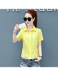 DYY4554556 Vestido de verano Camisa de manga corta color sólido Slim Camisa de camisa blusa mujer