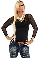 10126 Fashion4Young Damen Langarm-Shirt mit V-Ausschnitt transparent verfügbar in 6 Farben 2 Größen
