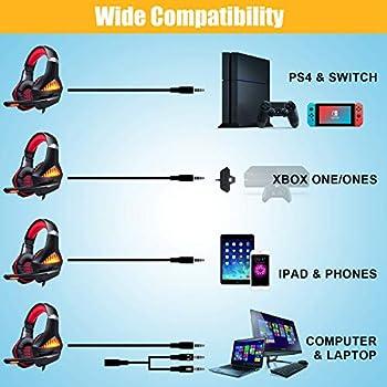 Cuffie Gaming per PS4 PC, Stereo Gaming Headset,Cuffie da Gioco, Samoleus 3.5mm Jack Cuffie Gamer con Microfono per Switch, Computer, Smartphone, Playstation 4 (Upgraded Red)