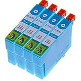 4er Pack Tintenpatronen Kompatibel zu Epson T1292 , T 1292 mit Chip EPSON Stylus SX 235W/ 420W / 425W/ 435W/ SX445W/ 525WD/ 535WD/ 620FW, Office BX 320FW/ 305FW/ 525WD/ 625FWD/ 925FWD/ 535WD/ 635FWD/ 935FWD, WF 7015/ 7515/ 7525 (Cyan/Blau)