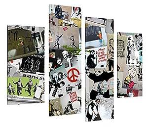 4pièces Best travail de Banksy Collage sur Toile mur Art 30x Décoration de la Maison Photos–88,9cm 90cm Large/71,1cm 71cm XXL Photos