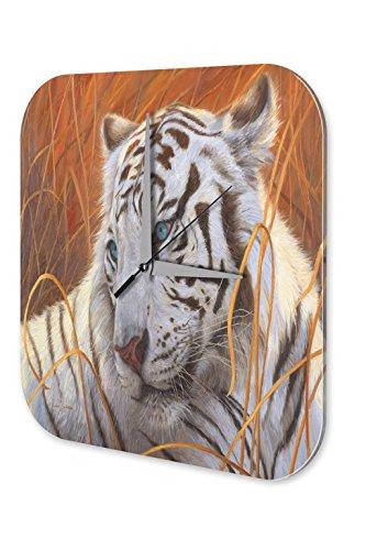 Wanduhr Deko Kinderzimmer weißer Tiger Acryl Dekouhr Nostalgie
