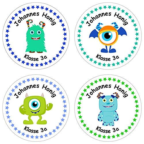 Papierdrachen 24 individuelle Aufkleber für Kinder - Motiv Monster - personalisierte Sticker - Schule Einschulung - Aufkleber Monster Sticker