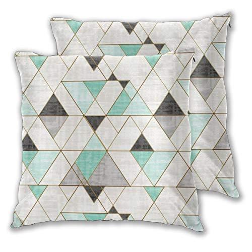 2er-Set Kissenhülle/Kissenbezug 45x45 cm Mod Triangles Mint Bw für Kissen, Sofakissen/Sofa Kissen und Dekokissen/Deko Kissen aus (Mint-sofa-kissen)