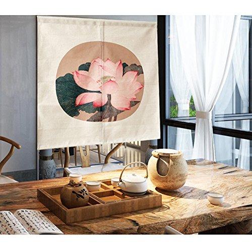 Wandlovers Chino Lotus Impresión Puerta Cortina clásico Acuarela biombos algodón Lino Partition Cortina casa Decorativa Pared Colgantes Veranda Dormitorio Cuarto de baño, Multicolor, 33.5 * 35.5in
