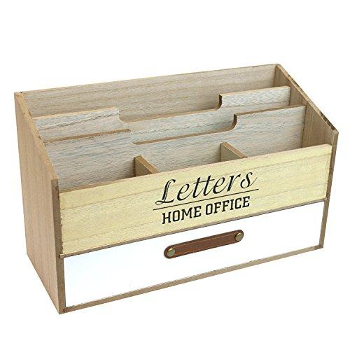 Schreibtischorganizer mit 5 Fächer und 1 Schublade Briefablage aus Holz Stehsammler Organizer