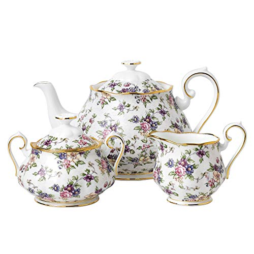 100 Years by Royal Albert Teekanne/Zuckerdose/Milchkännchen, 3-teiliges Set, Design: 1940 English Chintz