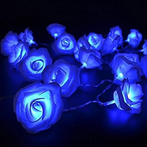ANGTUO 3M 30 Fiore della Rosa LED Fata luce della stringa per giardini, case, di nozze, festa di Natale, alimentato a batteria, blu