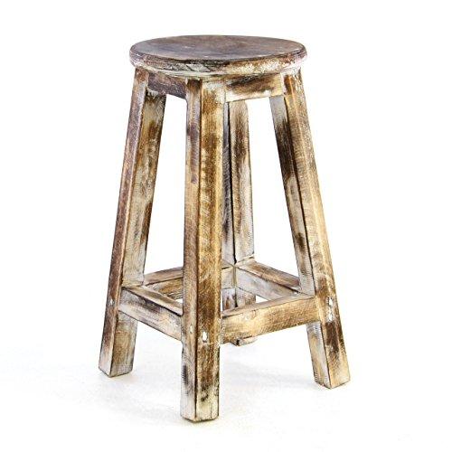 Divero Rustikaler Vintage Hocker 50cm rund massiv Holz Sitzhocker geflammt Used-Look Schemel Blumentisch Blumenhocker Landhaus-Stil