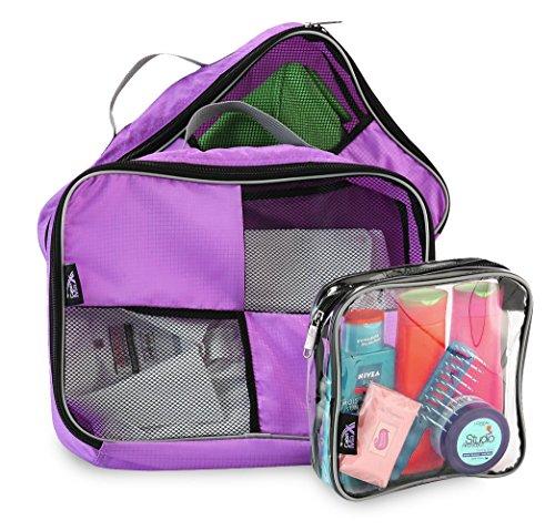 Cubi per bagagli con maniglia per fare i bagagli con facilità più astuccio da toilette 20x20x10 idonea per bagaglio a mano (Porpora) - Mano Bagagli