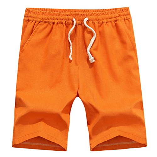 Men's Summer Cotton Plus Solid Beach Shorts Orange