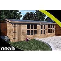 Noah - Cobertizo de jardín de Madera Resistente, 35,56 x 25,4