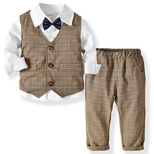 Zoerea Baby Jungen Kleidungsset Shirt + Weste + Hose Baby Fliege Braun Anzug für Baby Geburtstagsparty Kleid Weiß,120 - Herren-weste-kleid