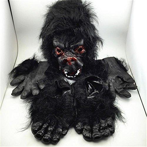MFFACAI Cosplay Gorilla Handschuhe/Füße/Maske Make-up Tanz Requisiten, Halloween Scary Dress Up Requisiten, Three Piece Sets (Halloween-puppe Make-up Beängstigend)