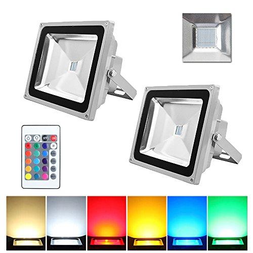 Preisvergleich Produktbild VINGO® 2X 50W LED RGB Fluter Baustrahler Strahler Außen Scheinwerfer Wasserdicht Objektbeleuchtung mit Fembedienung
