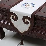 Met Love Patrón de flor blanca Patrón de tabla de raso Moderna simple de la manera Cocina de la sala de estar de lujo Cocina del hotel Textiles caseros del hotel (este producto vende solamente el corredor de la tabla) los 35 * 200cm