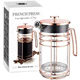 AmoVee French Press Coffee Maker Tea Maker With 304 Stainless Steel And Heat Resistant Borosilicate Glass, Bonus Stainless Steel Screen And Measuring Spoon Included, 1 Liter 34 Oz (8 Cup), Rose Gold