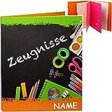 alles-meine.de GmbH A4 - Ringbuch / Zeugnisringbuch - Zeugnisse _ Bunte Stifte - incl. Name - mit Einsteckseiten & Einlagen - ERWEITERBAR / Ordner - Zeugnismappe - Sammelordner D..