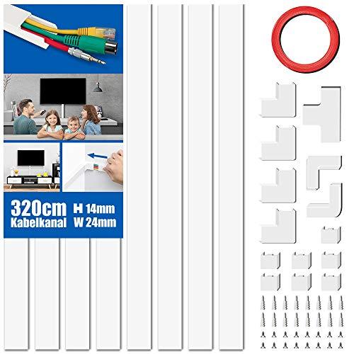 Kabelkanal Set, PVC Kabelabdeckung, Kabelschacht zum verstecken von Kabel, Kabel-Management-System für alle Netzkabel in Haushalt/Büro, 8 Stück x L40cm*W2,4cm*H1,4cm, weiß