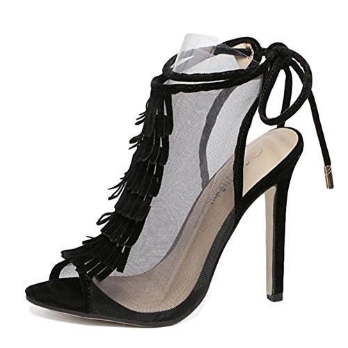 Mesh Ausgeschnitten Quaste Lace Up Sandalen High Heel Peep Toe Damenschuhe Transparent Knöchelriemen Für Prom Party Pumps,Black-EU:36/UK:4
