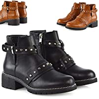 Womens Chunky Cleated Sole Low Block Heel Shoes Ladies Zip Up Studded Cut Out Biker Ankle Boots
