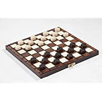 "10"" Traditional Hand Crafted Wooden Draughts Checkers Set"