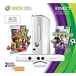Xbox 360 4GB Special Edition Console (White 4GB Console, Kinect, Controller, Kinect Sports, Kinect Adventures, 3 Month Xbox Live Gold Membership)