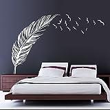 Ecloud Shop® Creativa del dormitorio del hogar del contexto del sofá de la pluma engomadas desprendibles blancas Decoración sitio de la decoración de la flor del flor del ciruelo Vinilos decorativos Salón