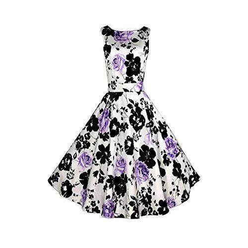 Hrph Summer Femme Vintage Robe Sans Manches Imprimé Fleur Haute Taille Robe A-Ligne Au Genous Poofy #12