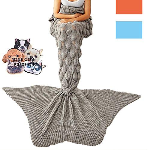 gearfan XL Meerjungfrau Schwanz Decke überwürfen Soft für Kinder Jugendliche Erwachsene Häkel Stricken Decke Jahreszeiten Warm 77inch36inch Französisch grau (Maroon Waffel)