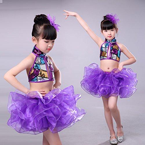 Kostüm Dance Jazz Tutus - Kinder Kostüme Kinder Jazz Dance Pailletten Tutu Mädchen Latin Ballade Kostüme Lila, 150cm