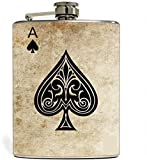#7: Kairos Ace Of Spades 8oz Stainless Steel Hip Flask Portable Liquor Whisky Flasks For Alcohol Drinkware -235ml
