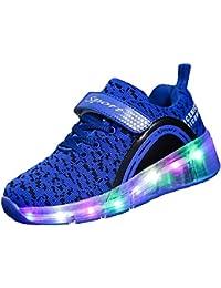 FLARUT Unisex Niños Zapatillas 7 Colores Luces LED Con Ruedas Deporte Patín Ruedas Luminoso Para Niños