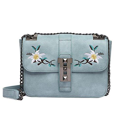 Sommer Kette Tasche - Mode süße PU Leder blaue Umhängetasche, schicke Schulter Damen kleine quadratische Tasche (Farbe : Blue)
