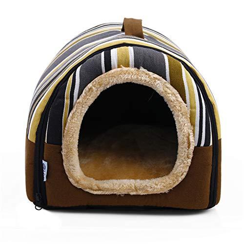 DEEN Faltbares 2-in-1 Iglu-Höhle für Katzen, Hund, Sofa, Hundehütte mit abnehmbarem Kissen, Rutschfester Korb, Kaninchen, Schlafsack, Nest für Katzen und Hunde