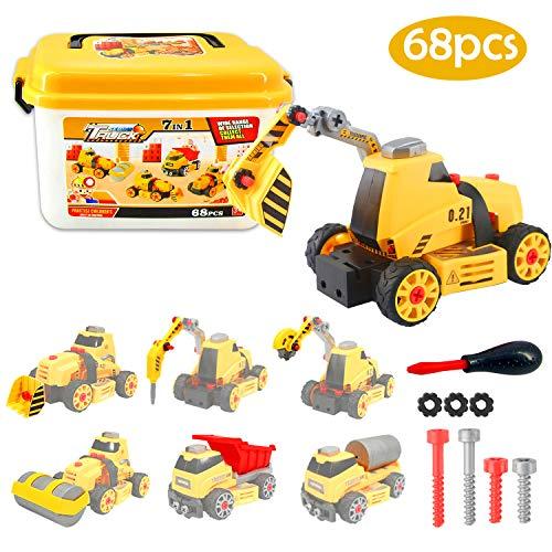 Dreamon Kit Smontabile per Bambini STEM Giocattolo 7 1 Camion Giocattoli Educativi Interattivi Regalo Veicolo da Cantiere per Ragazzi Ragazze 68 Pezzi