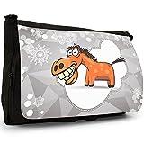 Fröhliches Pferd mit breitem Grinsen & Zähnen Große Messenger- / Laptop- / Schultasche Schultertasche aus schwarzem Canvas