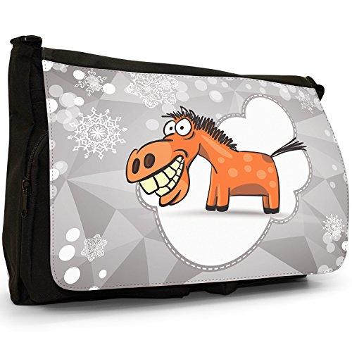 Holiday stagione cavalli di fiocco di neve, colore: nero, Borsa Messenger-Borsa a tracolla in tela, borsa per Laptop, scuola Happy Horse Huge Grin & Teeth