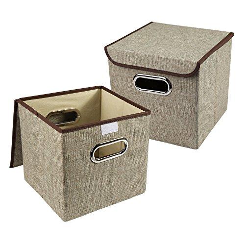 LEADSTAR 2 Pcs Cajas de Almacenaje Cubos de Tela Plegable 25 x 25 x 25 cm, Caqui