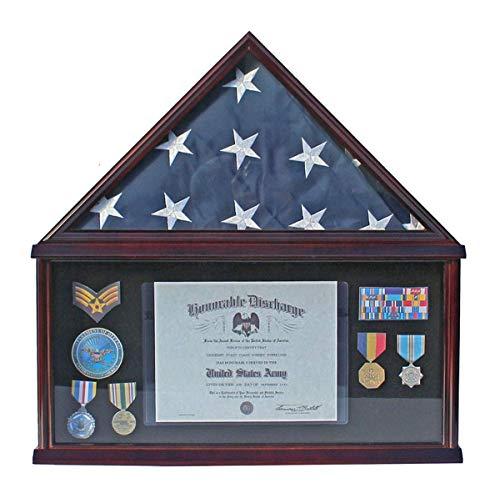 TANGGOOD Large Military Shadow Box Rahmen Memorial Beerdigung Beerdigung Beerdigung Beerdigung Flaggenvitrine für 5 'X 9,5' Flagge, Mahagoni-Finish, Massivholz (Schwarzes Filz-Mahagoni-Finish) -