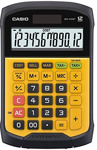 Casio WM-320MT Calcolatrice da Tavolo, Water e Dust Proof, Display a 12 Cifre, Tastiera Rimovibile, Giallo/Nero