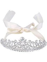 Clearine Mujeres Boda Nupcial Cristal Floral Princess Inspired Crown Cabello Tiara Ribbon Tie Cabello Accesorio