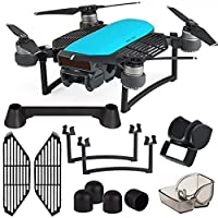 Kuuqa 6 Pack Protection Accessories Kits for Dji Spark, Including Lens Hood Sunshade, Landing Gear Extender, Gimbal Camera Guard Protector, Silica Gel Motor Guard Protective Cover, Finger Guard Board Hand Dam-board, Remote Controller Stick Thumb protector