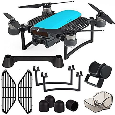 Kuuqa 6 Pack Protection Accessories Kits for Dji Spark, Including Lens Hood Sunshade, Landing Gear Extender, Gimbal Camera Guard Protector, Silica Gel Motor Guard Protective Cover, Finger Guard Board Hand Dam-board, Remote Controller Stick Thumb protector (Dji Spark Not