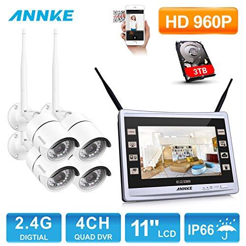 1280960P-ANNKE-HD-WIFI-Kit-de-4-Cmaras-de-Vigilancia-CCTV-NVR-Pantalla-de-11-pulgadas-P2P-13MP-IP66-IR-Cut-36mm-36LED-H264-Sistema-de-Seguridad-Inalmbrico-Plug-and-Play-Visin-nocturna-Acceso-Remoto-Al
