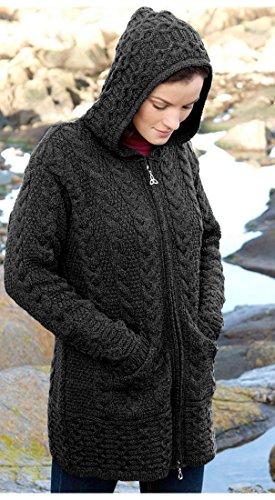 Irische Aran-damen-pullover (100% Merino Wolle Aran Crafts Damen Reißverschluss Zick-Zack Jacke, Holzkohle Farbe (XL))